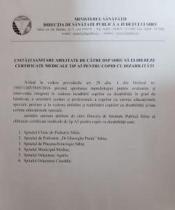 Unitati sanitare abilitate de DSP Sibiu pentru eliberare certificate tip A5